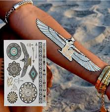 New Hot Egyptian Gold Temporary Tattoo Stickers Disposable Gold Flash Tattoo Pharaoh Egypt Flash Metal Tattoo