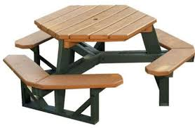 picture of heavy duty recycled plastic hexagonal picnic table with 3 attached benches and umbrella hole