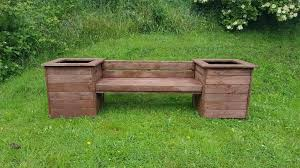 wooden garden outdoor decking bench seat with planters