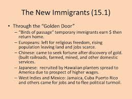 chapter immigrants and urbanization common final terms common  the new immigrants 15 1 through the golden door birds of passage temporary immigrants