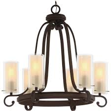 regina 6 light antique bronze indoor hanging chandelier outer clear glass shades and inner amber glass cylinder shades