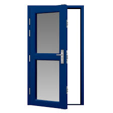 traffic blue glazed steel door fitted with 2 half glass panels