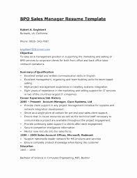 Sample Resume Format For Bpo Jobs Luxury Bpo Resume Samples Targer