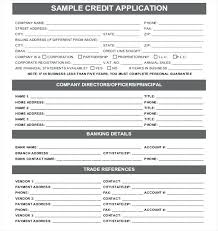 Sample Credit Application Forms Commercial Form Template Business