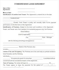 Basic Lease Agreement Basic Rental Agreement Or Residential Lease Template Business