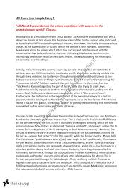 Example Of Response Essays All About Eve Text Response Essays Year 12 Vce English