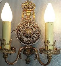 electric sconces exceptional pair vtg early 1900s solid brass antique wall sconces lion electric non electric