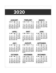 2020 Year At A Glance Calendar Template 2020 Printable One Page Year At A Glance Calendar Paper