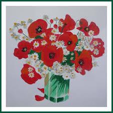 Le Bouquet De Coquelicot Et Camomille Peinture Acrylique