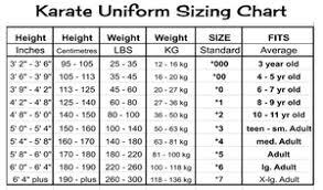 Karate Uniform Size Chart Karate Uniform Dogi Win At Life
