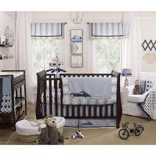 entrancing baby boy bedding design ideas featuring dark brown wooden baby crib and cars picture theme bedding set