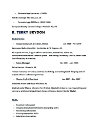 Sample Resume For Cosmetologist
