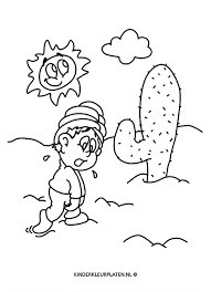 Kleurplaat Woestijn Heet Cactus Jaargetijden
