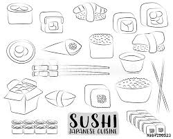 Restaurant Coloring Page Sushi And Rolls Set Japanese Cuisine Concept Asian