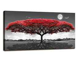 Amazon Youkuart Canvas Print Wall Art Red Tree Painting For New Home Decoration Painting Collection