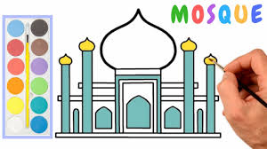 How To Draw A Mosque Step By Step Easy For Kids Colouring Pages