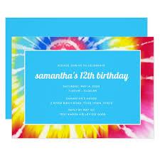 Pink Rainbow Tie Dye 12th Birthday Invitation
