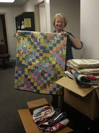 San Diego Modern Quilt Guild: We Make Stuff. And Give it Away ... & Judith of UCSD Medical Center's Volunteer Services with our Quilts Adamdwight.com