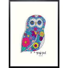 owl office decor. Whimsical Owl Art Print, Dorm Decor, Nursery Office Decor V