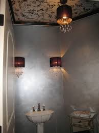 metallic interior paintPowder Room With Pedestal Sink And Wall Sconces Also Metallic