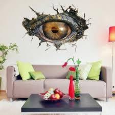 home decor wall art stickers. novelty home decoration 3d lifelike dinosaur eyes wall art sticker - black grey decor stickers o