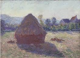 claude monet a haystack in the evening sun 1892