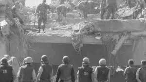 Image result for a suicide bomber drives a truck laden with explosives into the U.S. Marine Corps barracks in Beirut, Lebanon,