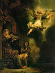 angel paintings the archangel leaving the family of tobias rembrandt van rijn