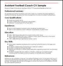 Coach Resume Template Best of Football Coaching Resume Template Assistant Football Coach Cv Sample