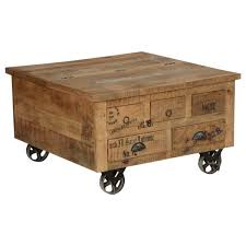 sierra living concepts industrial style solid wood square storage trunk 5 drawer coffee table