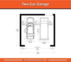 ilrated diagram of 2 car garage dimensions