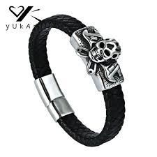 2019 yukam men black braided leather biker bracelets stainless steel magnetic clasp punk rock skull skeleton bracelets bangle jewelry from lbdfashion