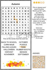 autumn themed zigzag word search puzzle suitable both for kids and adults answer included ver=6
