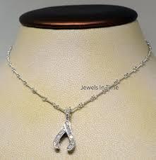 details about wishbone pendant chain 18k white gold diamonds las necklace