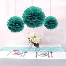 Party Decorations Tissue Paper Balls 100pcslot Mixed 100 Sizes Teal Blue Tissue Paper Pom Poms Paper 87