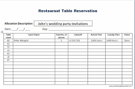 Table Reservation Template 28 Images Of Monthly Restaurant Reservation Template