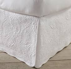 bed skirts king.  King White Quilted Bed Skirt King Size 100 Cotton 18 Inch Drop Paisley Scalloped On Skirts D