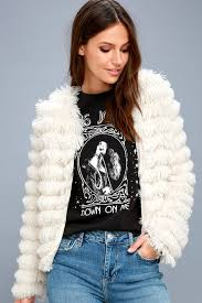 lourdes cream faux fur fringe jacket