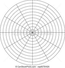 Polar Grid Of 10 Concentric Circles And 30 Degrees Steps Blank Vector Polar Graph Paper