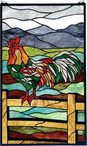 gallery for stained glass rooster lamp rare stain glass tiffany style rooster lamp vintage