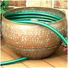 garden hose pot with lid. Garden Hose Storage Pot With Lid Copper Holders Hammered . N