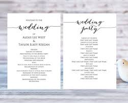 wedding party program templates wedding program templates ceremony program template diy wedding wedding program printable template editable program template