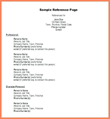 Example Of Reference Job Reference Page Sample Resume Examples For Professional Template