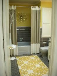 fl prnted yellow bath rug with elegant shower curtain for vibrant bathroom ideas