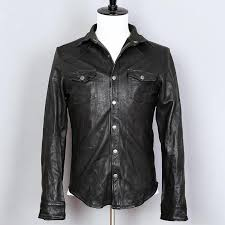 2019 2018 fashion fold sheepskin genuine leather shirt men slim fit real leather jacket mens thin slim fit black casual coat from ario 251 73 dhgate com