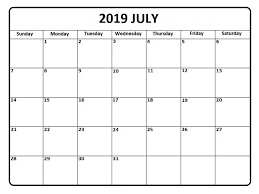 Best Monthly Blank Calendar For July 2019 Printable Template