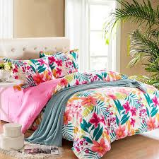 hot pink teal and white bright colorful tropical flower garden rustic style girls 100 cotton twin full size bedding sets