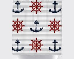 red blue gray nautical shower curtain, modern shower curtain, anchor shower  curtain, nautical