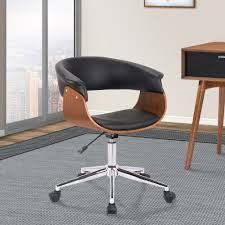 bellevue mid century office chair in chrome finish w black faux leather walnut veneer armen living lcbvofchwabl