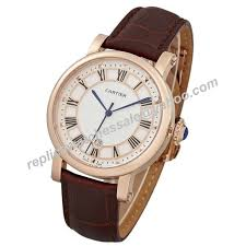 cartier rotonde 18kt rose gold brown leather band men watch kdy102